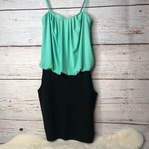 Sweet Storm Size Small Teal and Black Mini Dress